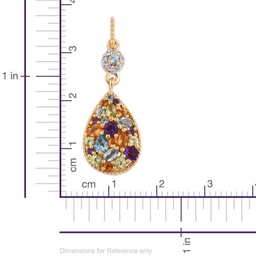 GP Electric Swiss Blue Topaz (Pear), Amethyst, Hebei Peridot, Citrine, Kanchanaburi Blue Sapphire and White Topaz Earrings (with Push Back) in 14K Gold Overlay Sterling Silver 3.000 Ct.