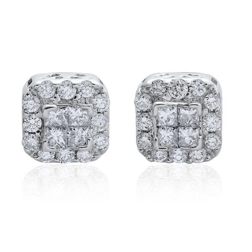 RHAPSODY 950 Platinum SGL Certified Diamond (Sqr) (VS/E-F) Stud Earrings (with Screw Back) 0.500 Ct.
