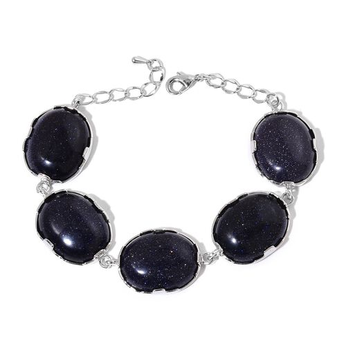 Christmas Cocktail Collection- Designer Inspired Blue Sandstone (Size 20X25mm) Bracelet (Size 8 with 1 inch Extender)