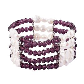 Fresh Water White Pearl and Simulated Amethyst Stretchable Bracelet (Size 7) in Silver Tone