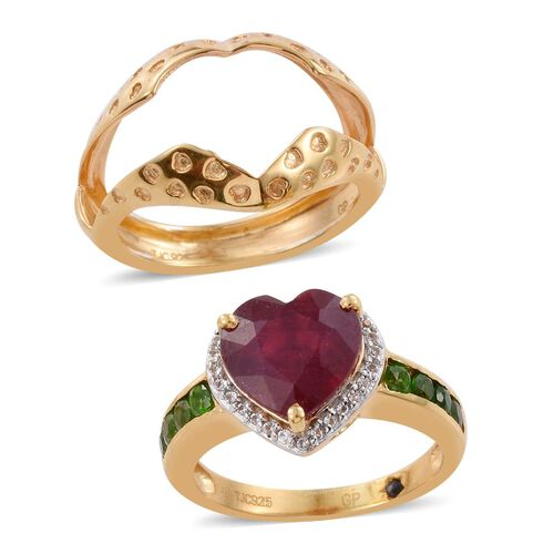 GP African Ruby (Hrt 5.15 Ct), Russian Diopside, White Topaz and Kanchanaburi Blue Sapphire Ring in 14K Gold Overlay Sterling Silver 6.000 Ct.
