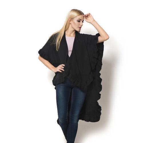 Black Colour Ruana (Size 100x80 Cm)
