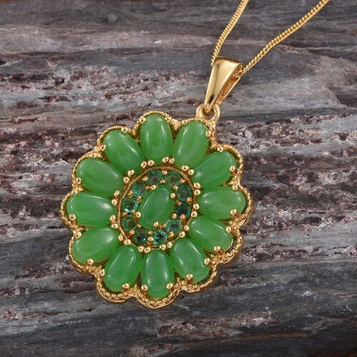Green Jade (Ovl), Brazilian Emerald Floral Pendant with Chain in 14K Gold Overlay Sterling Silver 8.250 Ct.