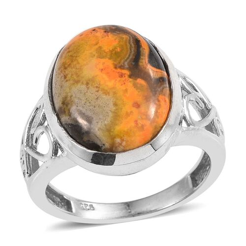 Bumble Bee Jasper (Ovl) Solitaire Ring in Platinum Overlay Sterling Silver 7.500 Ct.