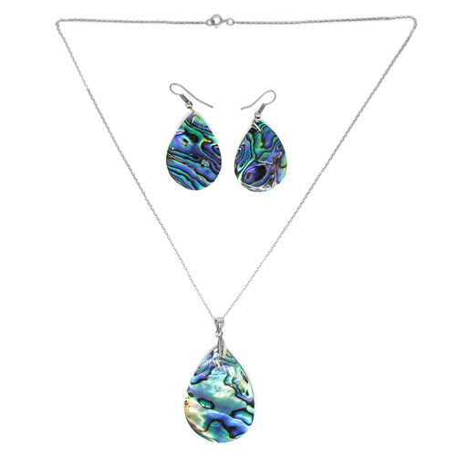 Abalone Shell Pear Pendant with Chain and Hook Earrings in Silver Plated