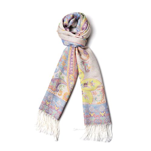 Designer Inspired- Cream, Green and Multi Colour Floral and Paisley Pattern Scarf with Tassels (Size 170X68 Cm)