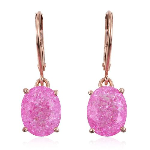 Hot Pink Crackled Quartz (Ovl) Lever Back Earrings in Rose Gold Overlay Sterling Silver 5.000 Ct.