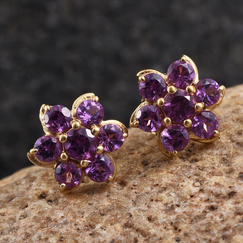 Rare Mozambique Grape Colour Garnet (Rnd) Floral Stud Earrings in 14K Gold Overlay Sterling Silver 1.250 Ct.