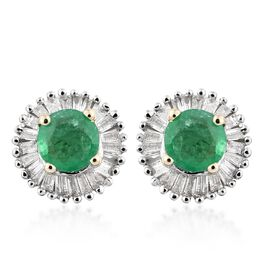 9K Yellow Gold Premium Santa Terezinha Emerald (Rnd), Diamond Stud Earrings (with Push Back) 1.000 Ct.