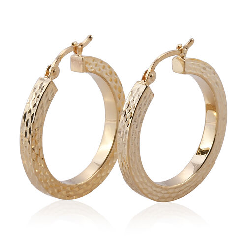 One Time Deal-Istanbul Collection 9K Yellow Gold Diamond Cut Hoop Earrings (with Clasp), Gold weight 2.35 Gram