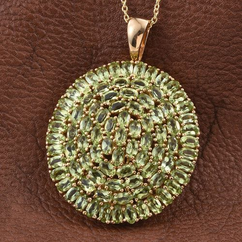 AA Hebei Peridot (Ovl) Cluster Pendant With Chain in 14K Gold Overlay Sterling Silver 20.000 Ct.