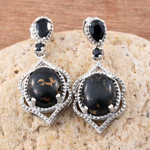 Arizona Mojave Black Turquoise (Ovl), Boi Ploi Black Spinel Earrings (with Push Back) in Platinum Overlay Sterling Silver 7.000 Ct.