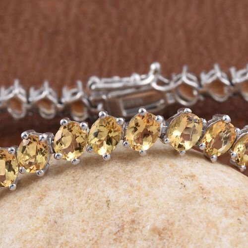 Marialite (Ovl) Bracelet (Size 7.5) in Platinum Overlay Sterling Silver 12.000 Ct.