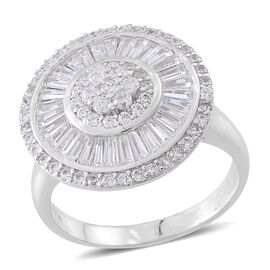 Designer Inspired - ELANZA AAA Simulated White Diamond (Rnd) Ring in Rhodium Plated Sterling Silver, Silver wt 8.00 Gms.