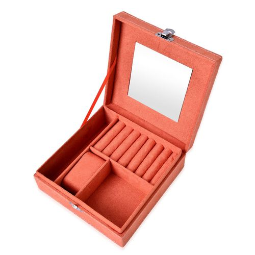 Coral Colour Velvet Jewellery Box with 40 Rings, Watch, Bangle and Bracelet Slots and Mirror Inside (Size 17x17x6 Cm)