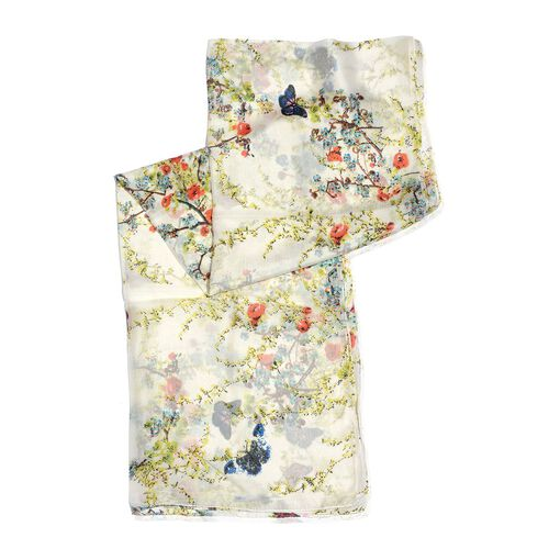 100% Mulberry Silk White, Green and Multi Colour Butterfly Pattern Scarf (Size 180x50 Cm)