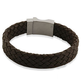 Brown Leather Bracelet (Size 7.5) in Stainless Steel