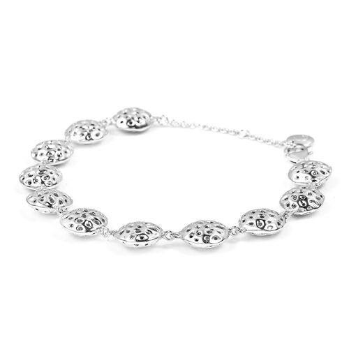 RACHEL GALLEY Rhodium Plated Sterling Silver Lattice Disc Bracelet (Size 8), Silver wt. 15.54 Gms.