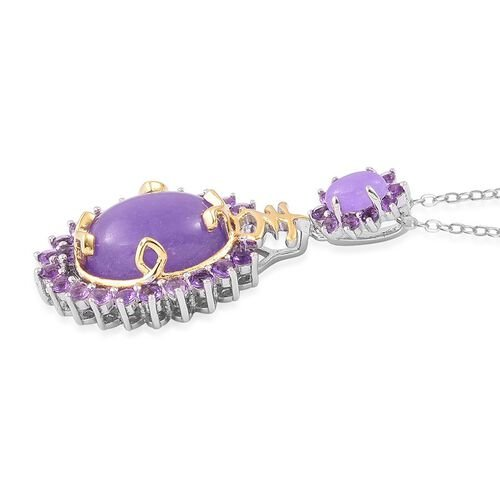 Purple Jade (Ovl 5.75 Ct), African Amethyst Pendant with Chain in Rhodium Plated and Yellow Gold Overlay Sterling Silver 7.300 Ct.