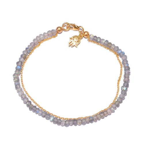 Labradorite (Rnd) Bracelet (Size 7.5) with Hamsa Charm in Yellow Gold Overlay Sterling Silver 9.600 Ct.