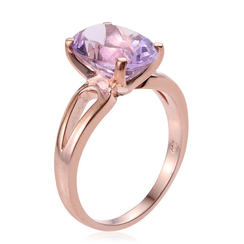 AA Rose De France Amethyst (Ovl) Solitaire Ring in Rose Gold Overlay Sterling Silver 5.000 Ct.