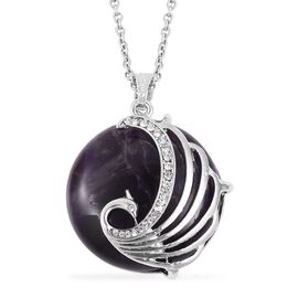 Amethyst (Rnd 59.00 Ct), White Austrian Crystal Peacock Pendant with Chain (Size 28) in Silver Tone 59.500 Ct.
