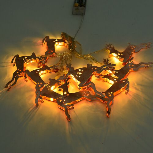 Set of 10 - Rose Gold Colour Christmas Deer LED String Lights