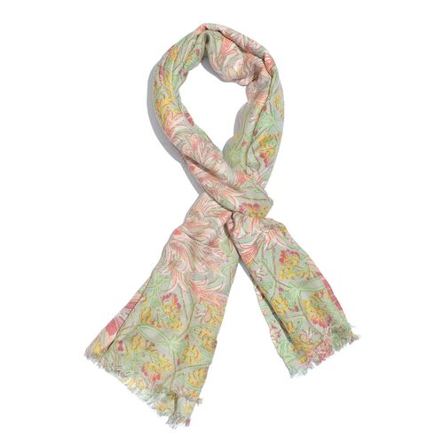 Spring Collection - Red, Yellow, Green and Multi Colour Leaves and Floral Pattern Scarf (Size 180x55 Cm)