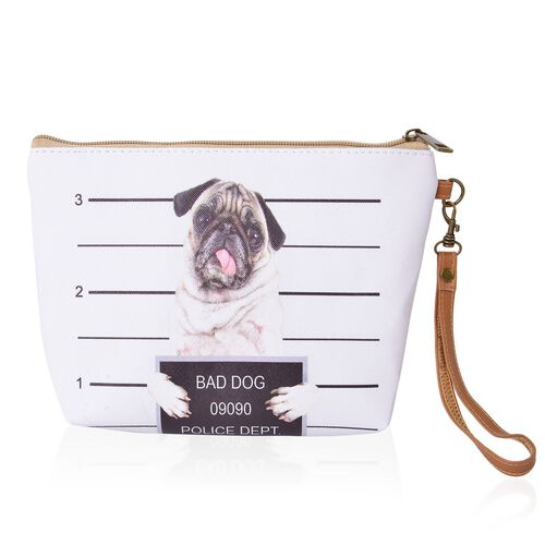 Set of 3 - White, Brown and Multi Colour Dog Face Cosmetic Bag (Size Large 28X27X7 Cm, Medium 21X15X6 Cm and Small 18X12X5 Cm)