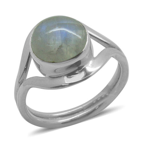 Royal Bali Collection Rainbow Moonstone (Rnd) Solitaire Ring in Sterling Silver 4.670 Ct.