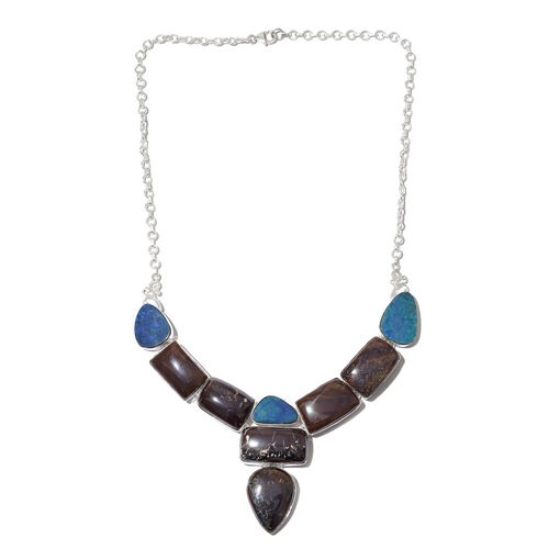 Australian Boulder Opal Rock Necklace (Size 17.5) in Sterling Silver 188.000 Ct. Silver wt. 25.10 Gms.