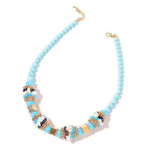 White Shell, Blue and Multi Colour Beads Necklace (Size 20 with 2 inch Extender) in Yellow Gold Tone