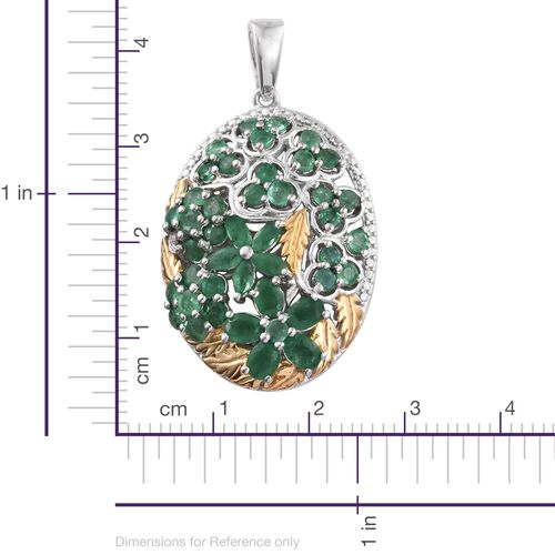 Kagem Zambian Emerald (Rnd) Floral and Leaves Pendant in Platinum and Yellow Gold Overlay Sterling Silver 2.750 Ct. Silver wt 5.00 Gms.