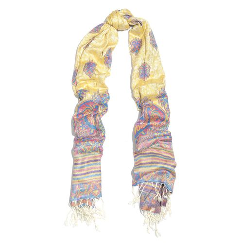 Yellow, Pink and Multi Colour Scarf with Fringes (Size 180x70 Cm)