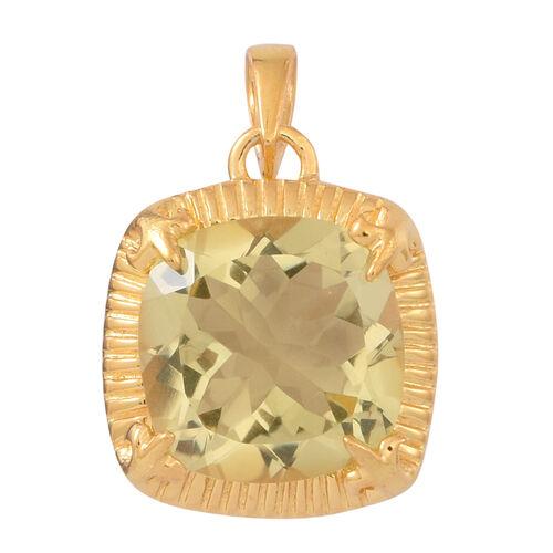 Lemon Quartz (Cush) Solitaire Pendant in 14K Gold Overlay Sterling Silver 6.000 Ct.