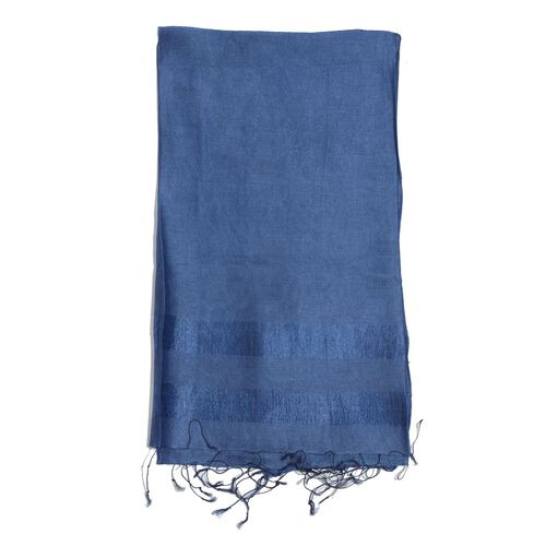 30% Silk and 70% Viscose Blue Colour Shawl (Size 175x65 Cm)