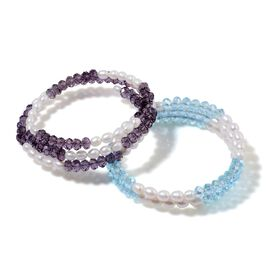 Set of 2 - Fresh Water White Pearl, Simulated Amethyst and Simulated Aquamarine Bracelet (Size 7.50)