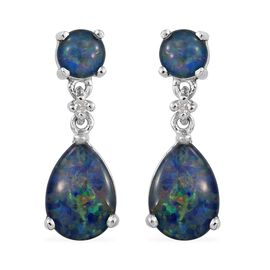 Australian Boulder Opal (Pear), Diamond Dangling Earrings (with Push Back) in Platinum Overlay Sterling Silver 3.500 Ct.