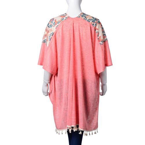 New Season-Multi Colour Damask Pattern Pink Colour Poncho with Tassels (Size 80X70 Cm)
