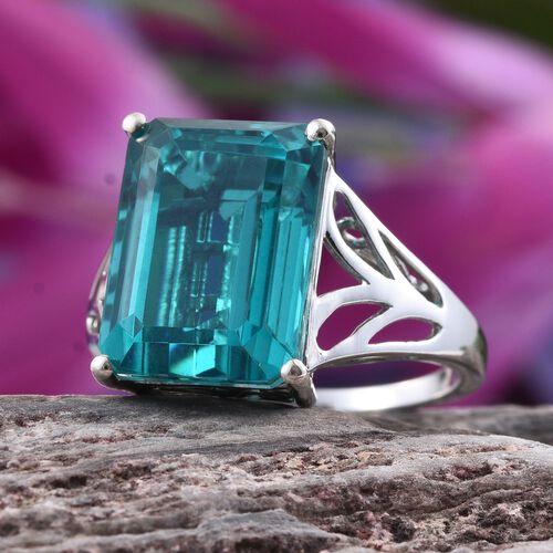 Capri Blue Quartz (Oct) Ring in Platinum Overlay Sterling Silver 13.000 Ct.