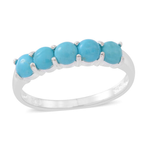 Arizona Sleeping Beauty Turquoise (Rnd) 5 Stone Ring in Sterling Silver 1.000 Ct.
