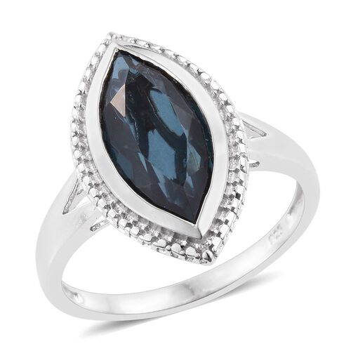 Indicolite Quartz (Mrq) Solitaire Ring in Platinum Overlay Sterling Silver 4.500 Ct.