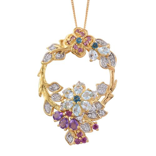 GP Sky Blue Topaz (Pear), Amethyst, Rhodolite Garnet, Kanchanaburi Blue Sapphire and Multi GemStone Pendant with Chain in 14K Gold Overlay Sterling Silver