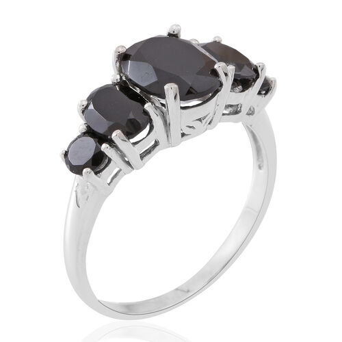 Boi Ploi Black Spinel (Ovl 3.24 Ct) Ring in Sterling Silver 5.840 Ct.