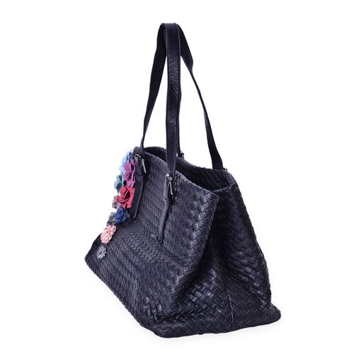 LIMITED COLLECTION Multi Colour 3D Floral and Woven Pattern Black Colour Tote Bag (Size 39x23x22 Cm)