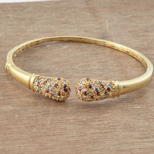 AAA Rainbow Sapphire (Rnd) Torque Bangle (Size 7.5) in 14K Gold Overlay Sterling Silver 4.000 Ct. No Of Sapphires 136 pcs