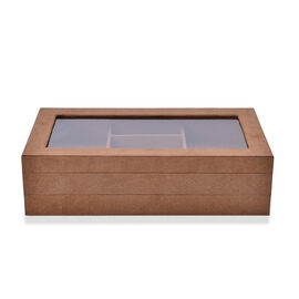 Brown Colour Velvet 2 Stacks Jewellery Box with Removable 110 Ring Slots Tray (Size 37x21x10 Cm)