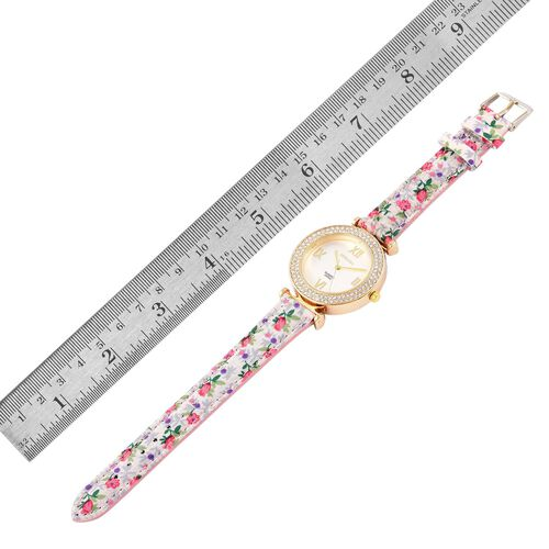 STRADA Japanese Movement White Austrian Crystal Studded Watch in Gold Tone with Pink Colour Floral Strap