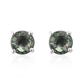 ILIANA 18K White Gold 1.40 Carat AAA Green Sapphire (Rnd) Stud Earrings (with Screw Back)