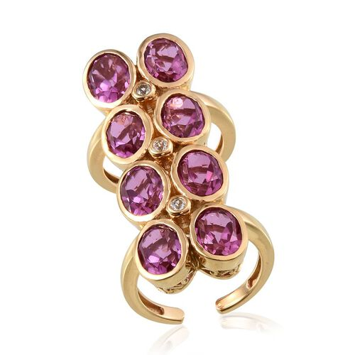 Kunzite Colour Quartz (Ovl), White Topaz Ring in 14K Gold Overlay Sterling Silver 12.000 Ct. Silver wt 10.30 Gms.